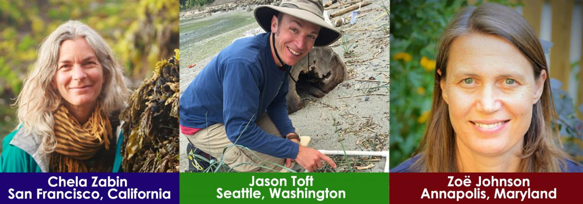 Three photos of scientists outdoors, with city names beneath: Chela Zabin - San Francisco, Jason Toft - Seattle, and Zoe Johnson - Annapolis