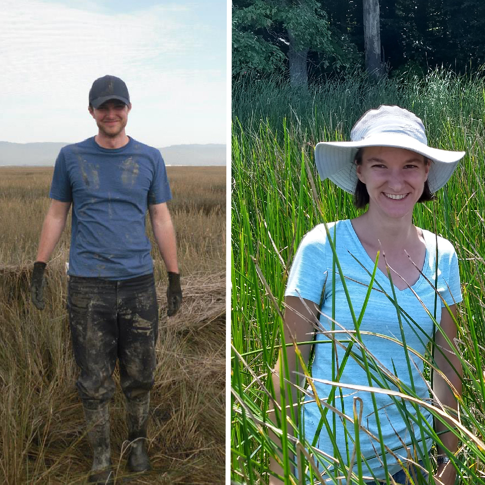 Left: James Holmquist in muddy clothes on wetland. Right: Genevieve Noyce in white field hat on wetland