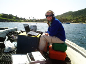 Erica listening to the ocean off Catalina Island