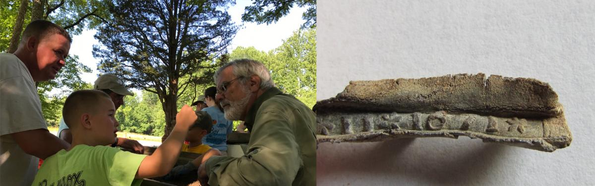 Left photo: Boy holds up artifact for Jim Gibb to inspect. Right photo: Window came, circa 1671.