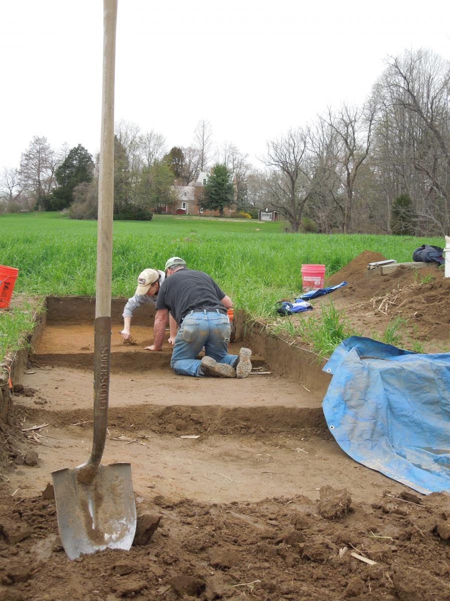 Archaeologists excavating in tiered units up a hill