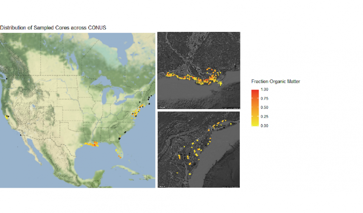 sampled cores mapped across US, Louisiana and the Chesapeake