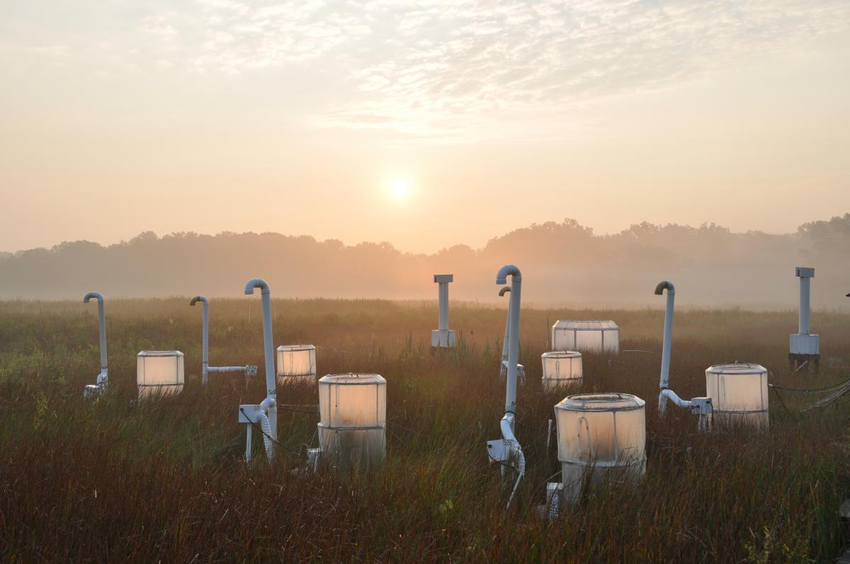Small chambers with pipes on a marsh at sunrise