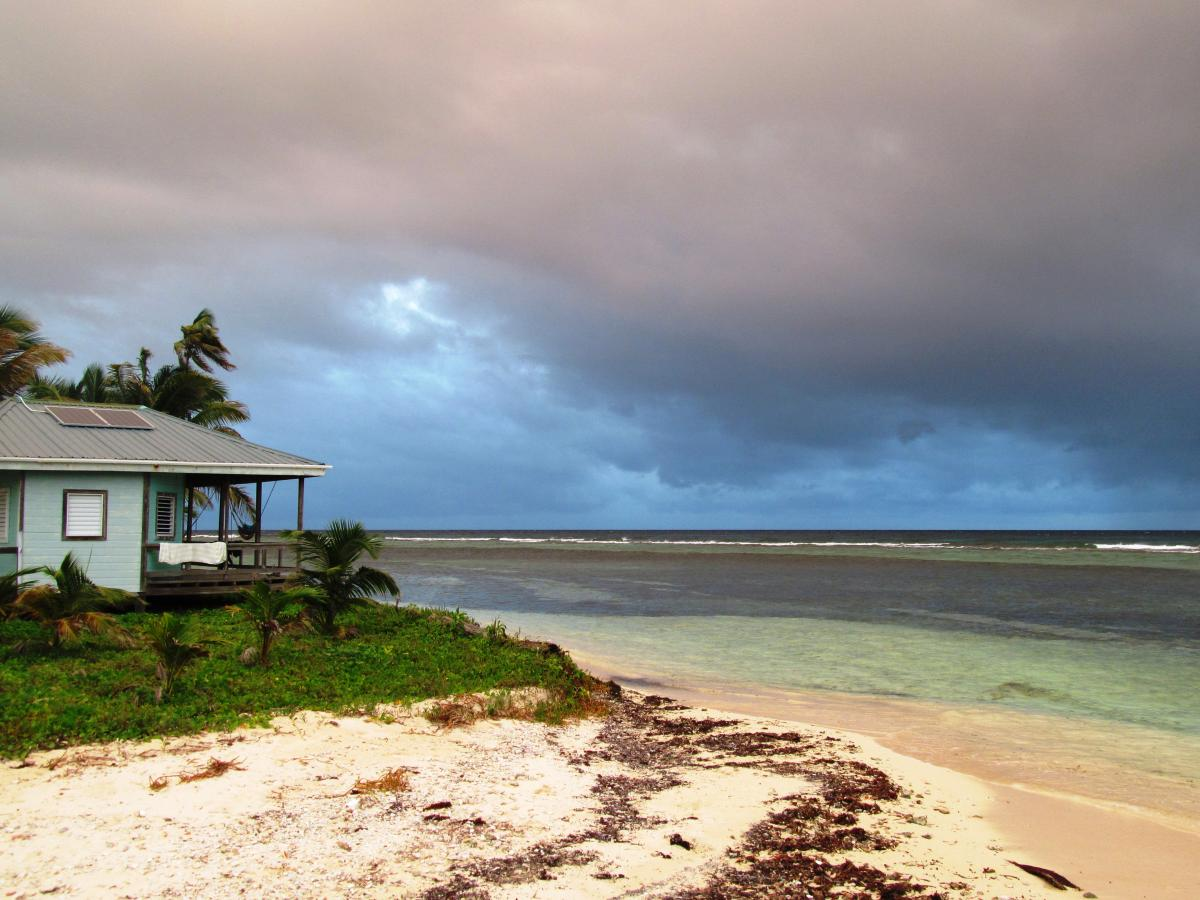 Carrie Bow Cay station house on beach