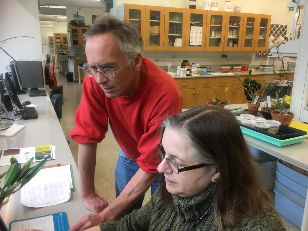 scientist and volunteer work together