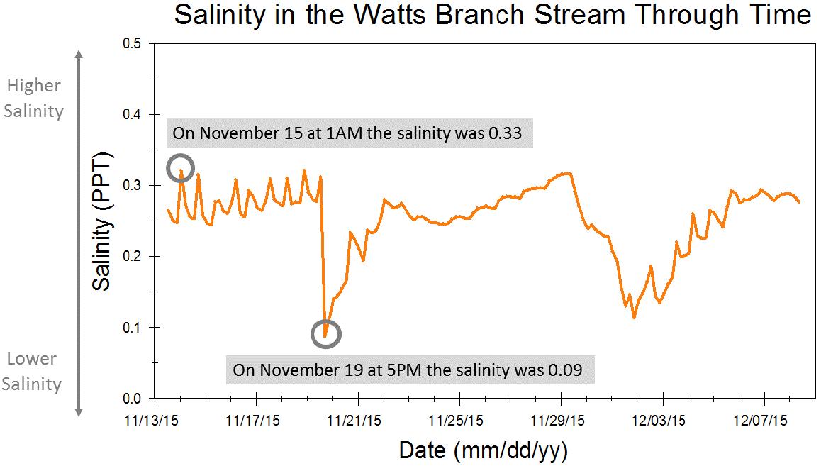 Watts Branch salinity graph