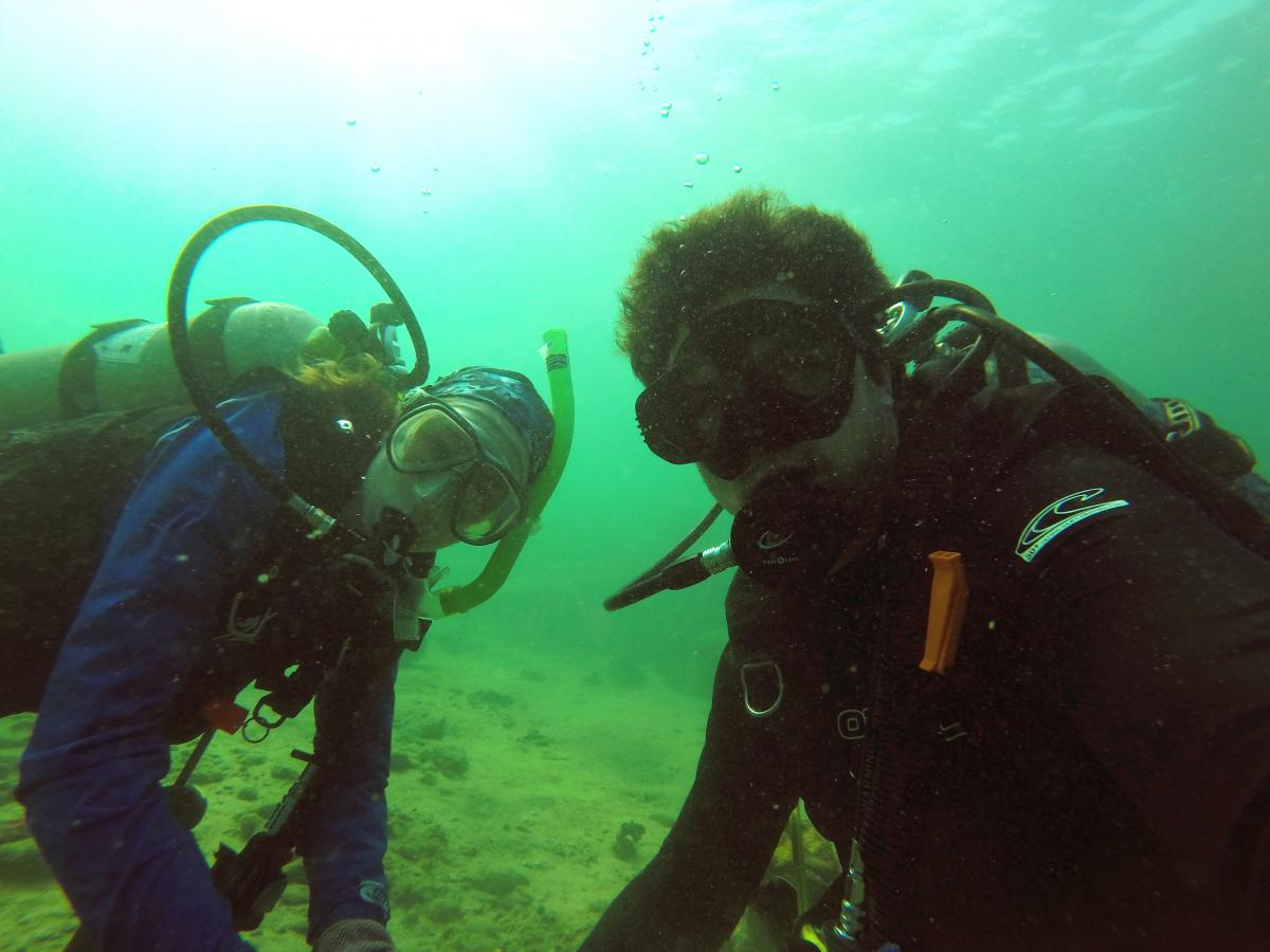 Two divers underwater