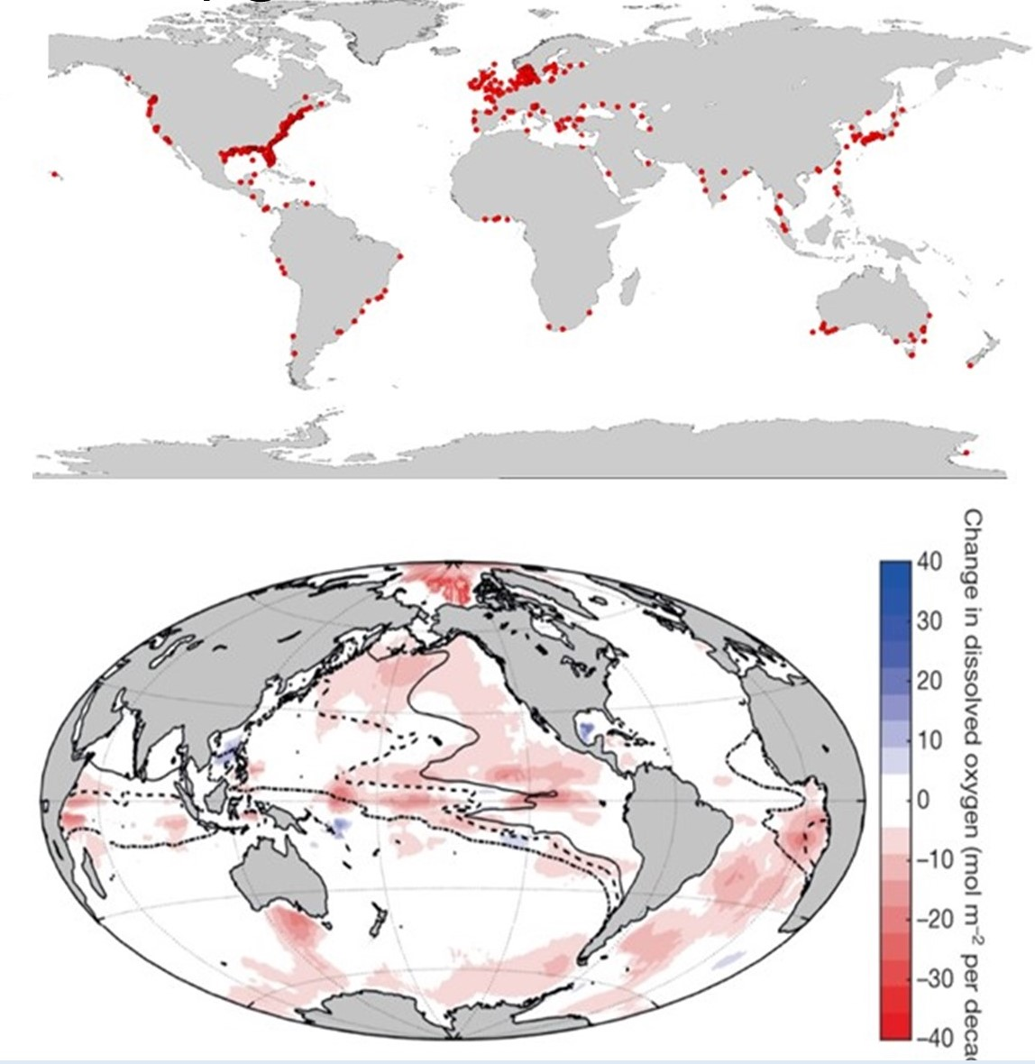 Figure showing coastal deoxygenation spots and global changes in deoxygenation