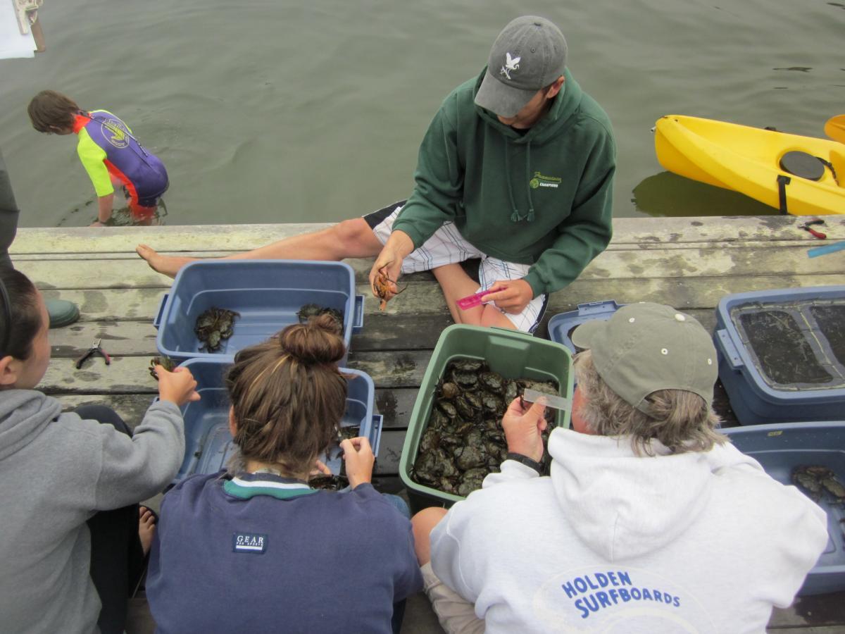 Chris Brown and volunteers at Seadrift Lagoon