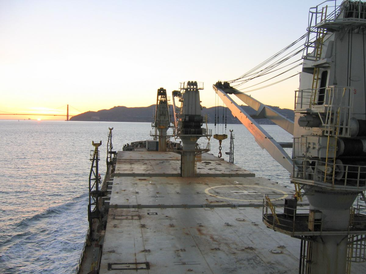 A veiw from the bridge of the Ciclope, a bulk carrier (ship)