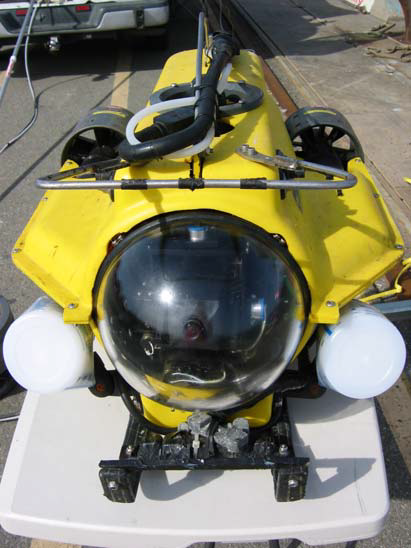 A remotely operated vehicle (ROV) used to collect samples and images from commercial ships.