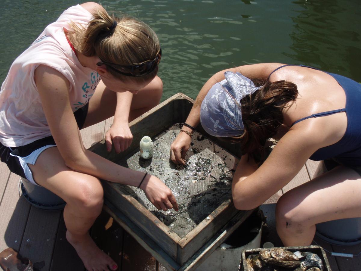 kristen maglies and jessica morris sorting mud crabs