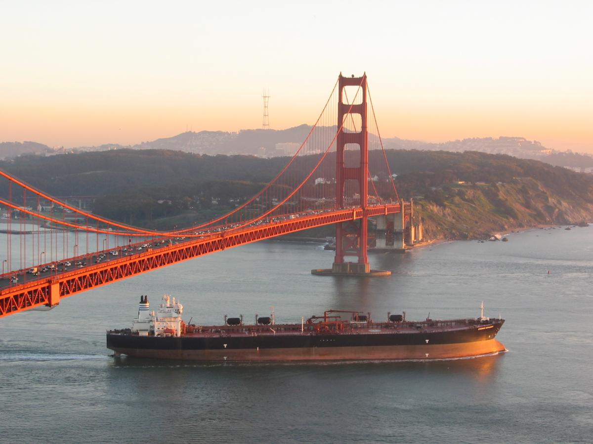 Commercial ship leaving San Francisco Bay. Photo by Monaca Noble