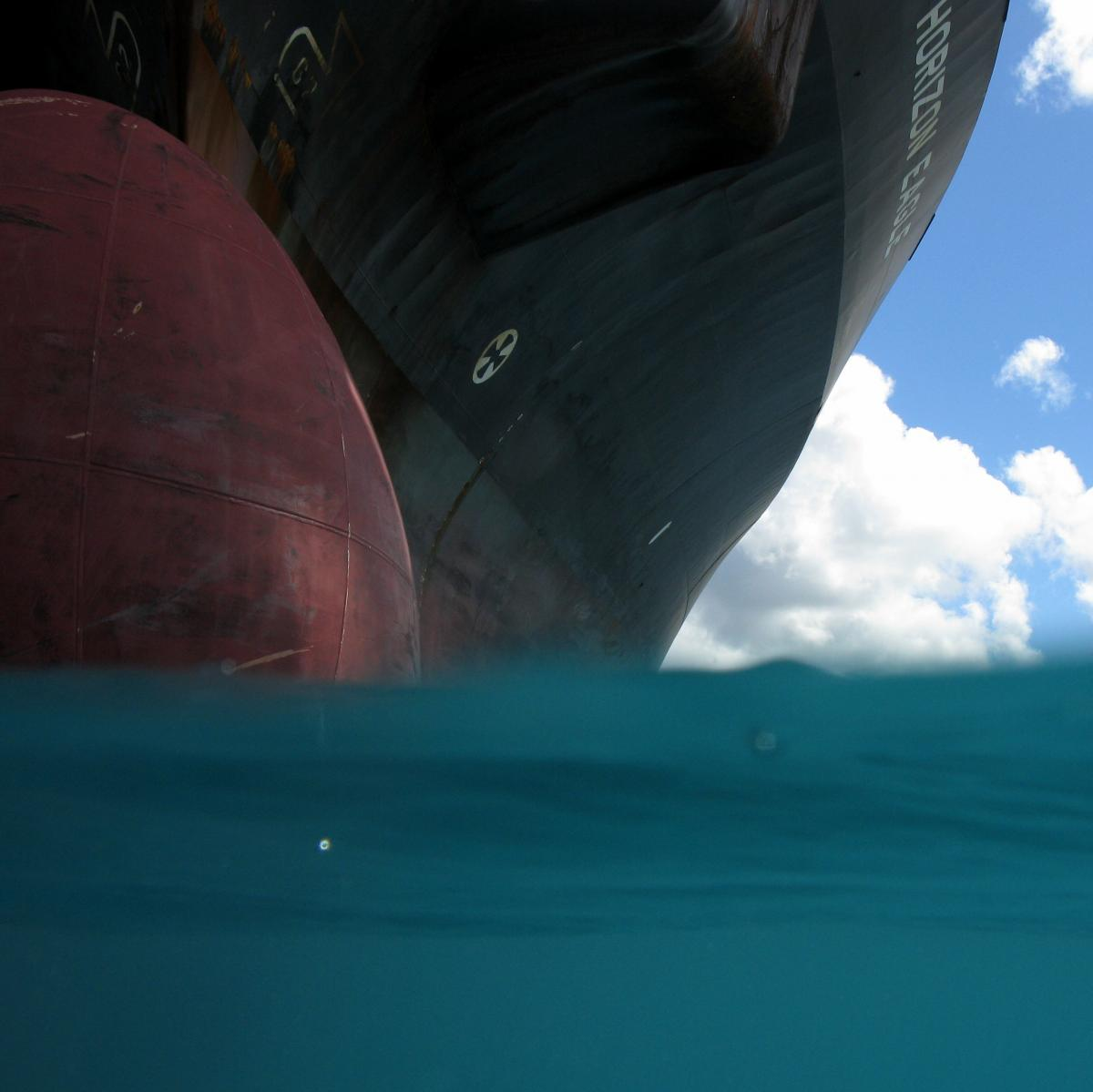 A diver's view of a ship