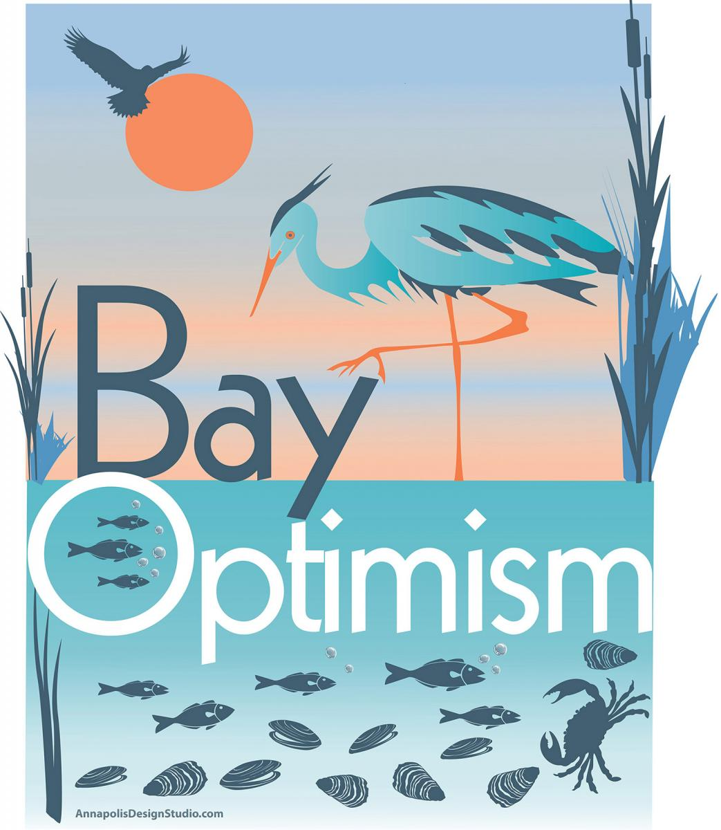 Bay Optimism logo with heron, fish and crabs