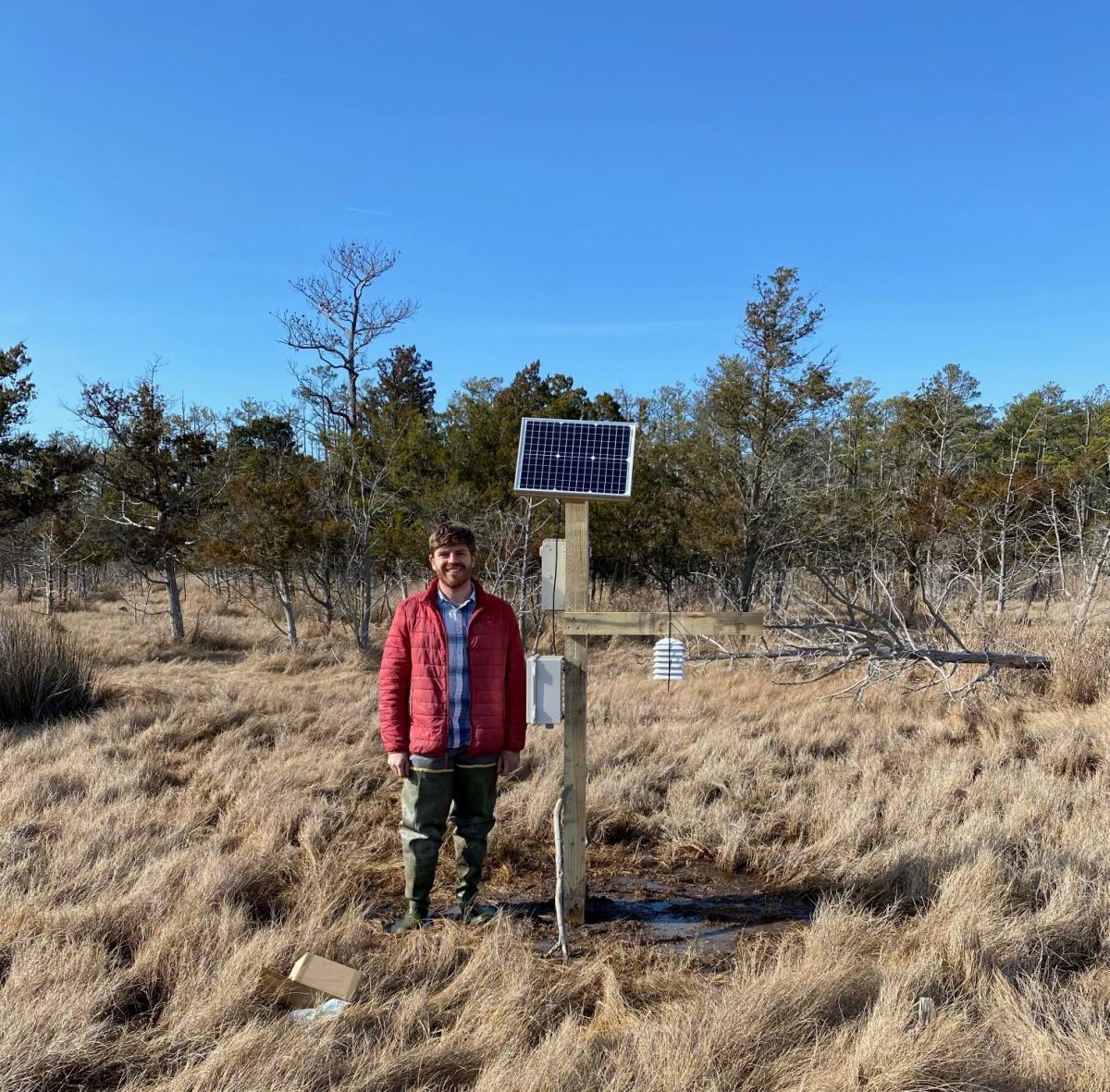 Marc Rosenfield in wetland beside CO2 sensor