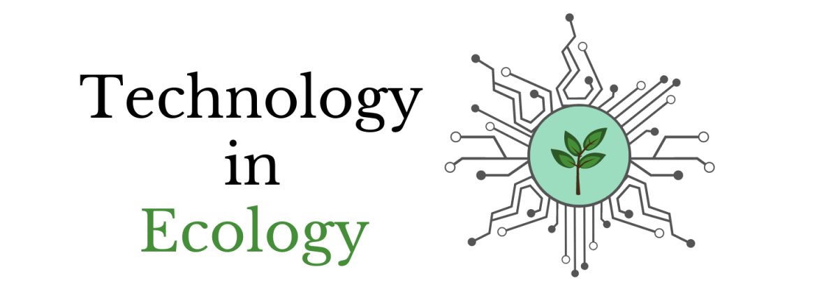 Banner: Technology in Ecology. Logo with plant in green circle, surrounded by circuit-board lines