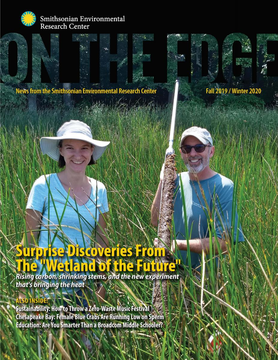 Front cover of Fall 2019/Winter 2020 newsletter On The Edge, with a man and woman standing together in a marsh with a soil core