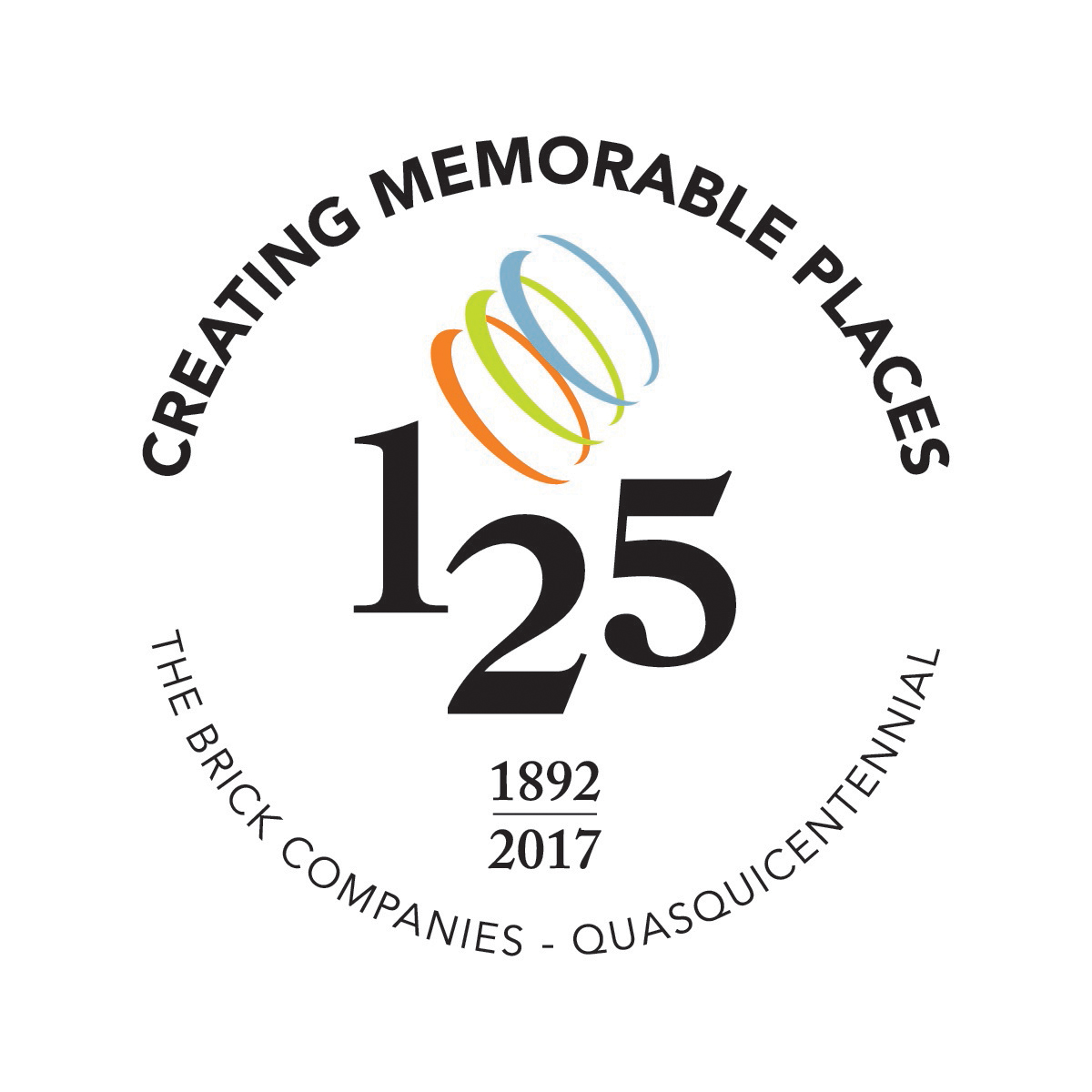 Logo: The Brick Companies, 125 Anniversary, Creating Memorable Places