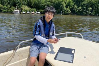 Volunteer on boat