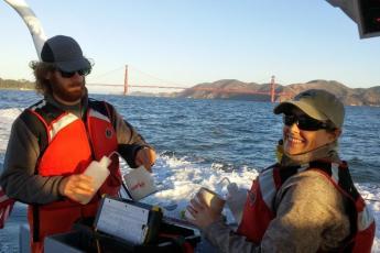 Field crew (Carl & Ruth) processing plankton samples