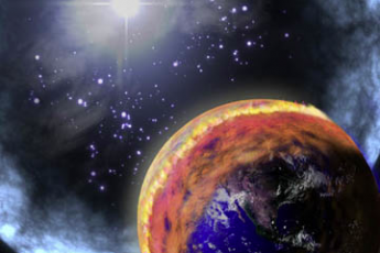 Artist's depiction of a gamma ray burst impinging on Earth's atmosphere