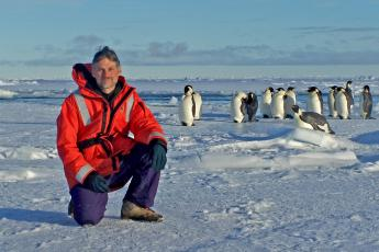 Pat Neale with penguins