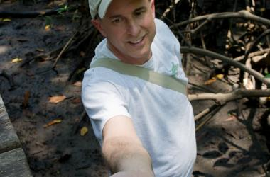 Pat Megonigal holding soil