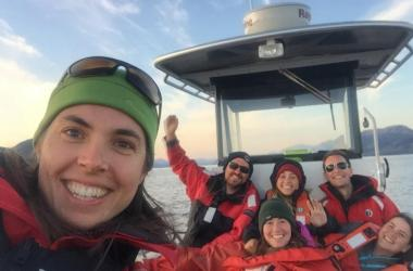 Selfie of scientists on boat