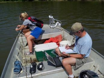 CO2 river transect in boat monitoring carbonate chemistry