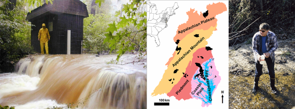 Image of stream sampling station,  map of sampling sites, image of scientist sampling stream water