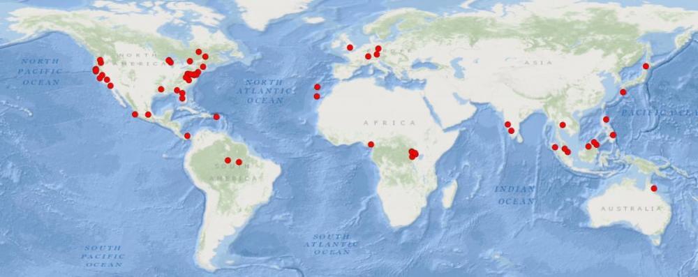 Global Map of LIDAR sites