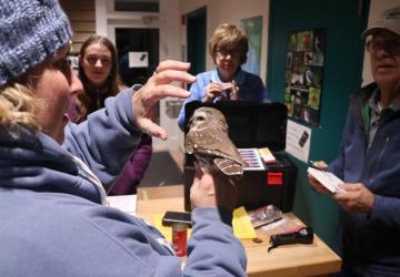 Volunteers helping take measurements of the saw whet owl.