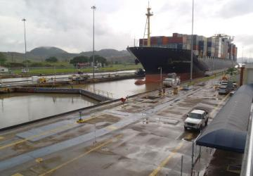 Miraflores Lock with ship