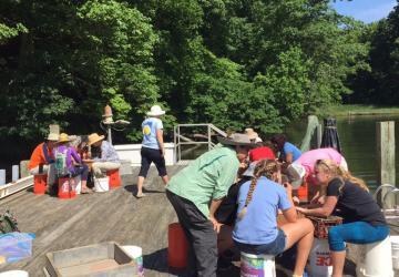 Volunteers on dock