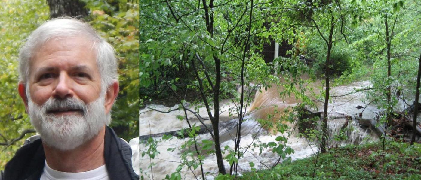 Man headshot, next to streamside forest