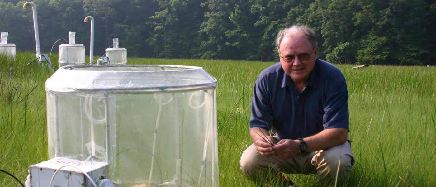 Bert Drake by experimental chamber in wetland