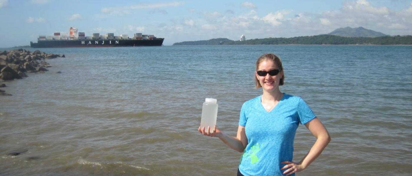 Dr. Katrina Lohan with water sample from Punta Culebra, a site at the Pacific entrance to the Panama Canal.
