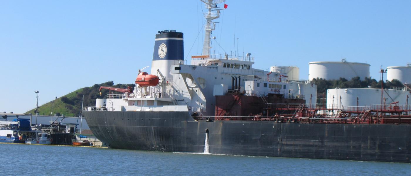 ship emitting ballast water