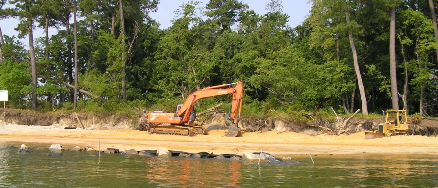 Construction of the Chester Point Living Shoreline