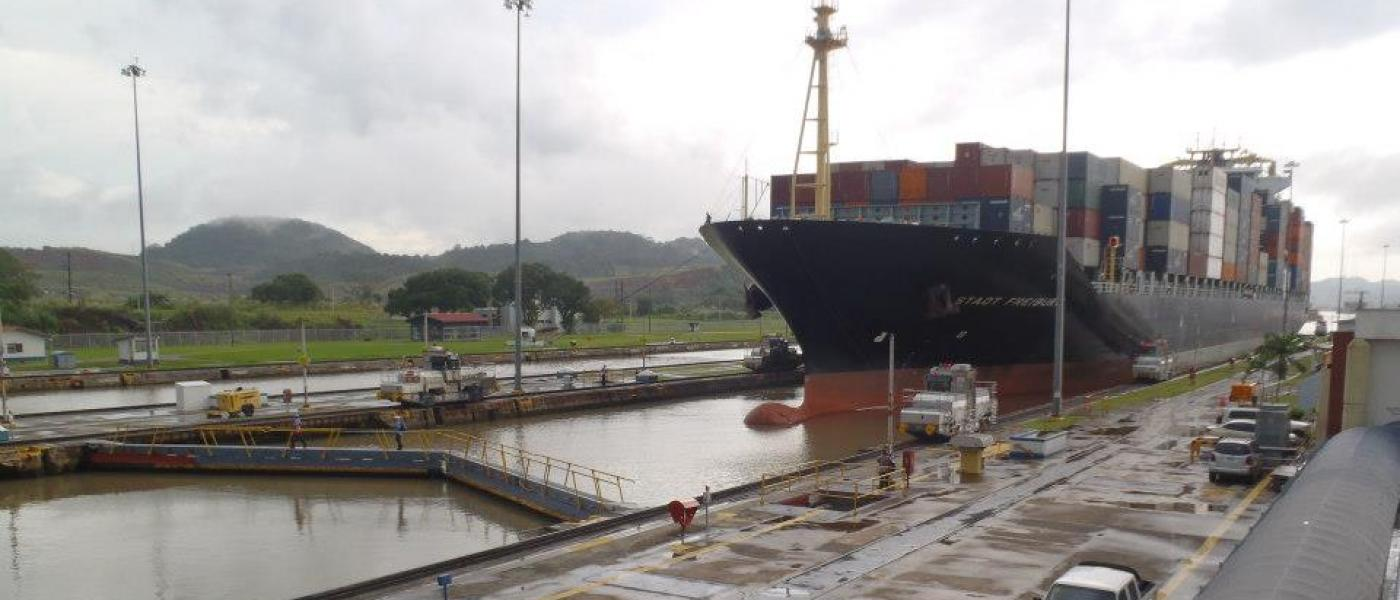 Panamax ship entering the Panama Canal
