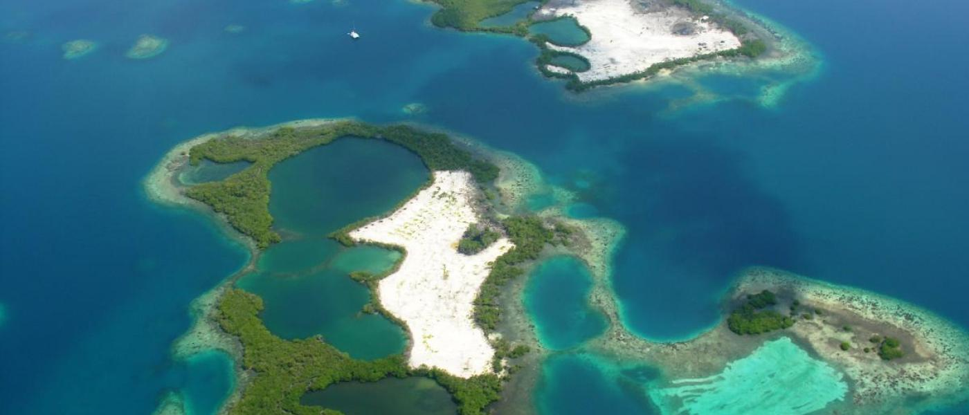 aerial of cays in Belize