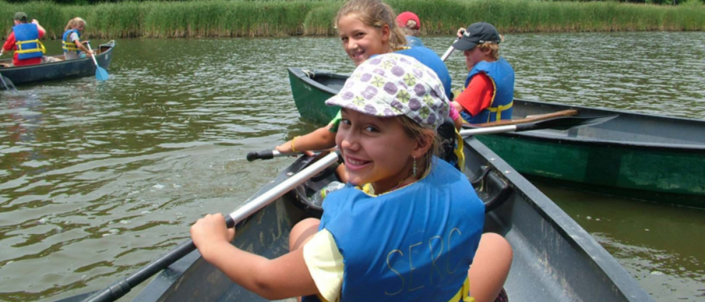 Two girls in a canoe