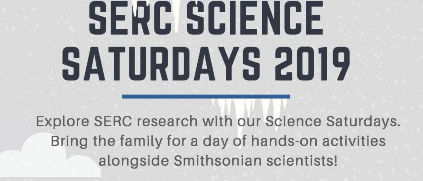 Flyer with gray background: SERC Science Saturdays 2019. 10am-1pm February 23.