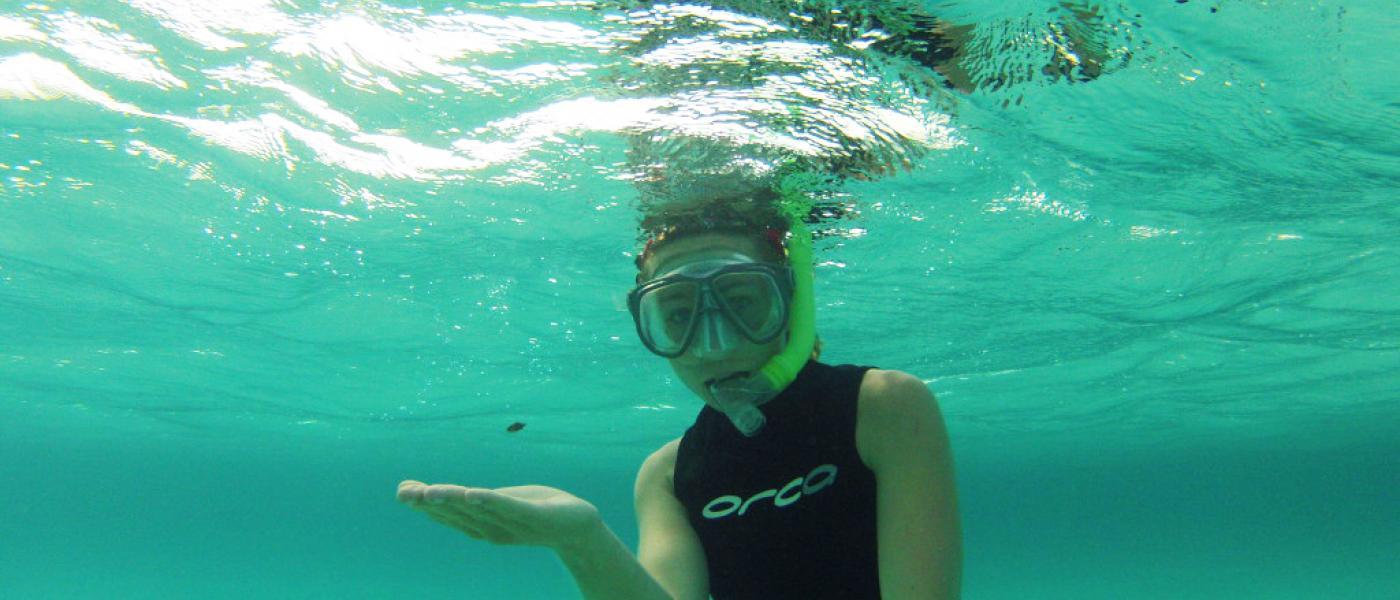 Woman diver underwater
