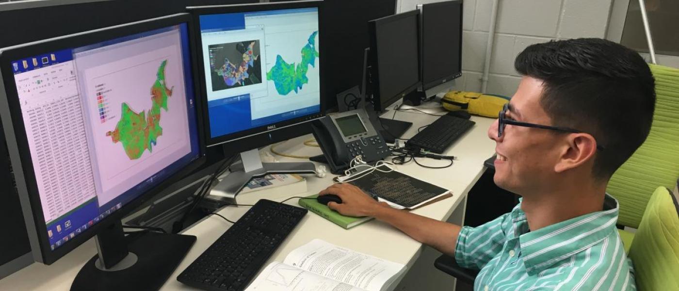 Intern at computer