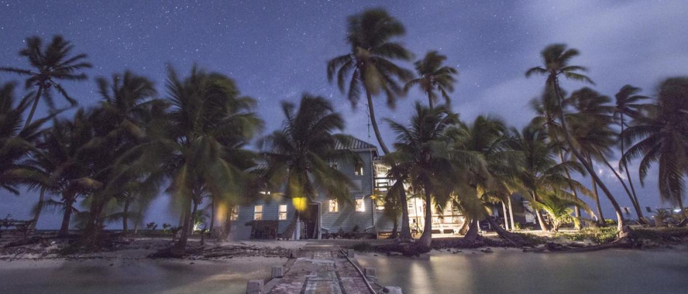 Dusk at the Carrie Bow Cay field station on the Belize Barrier Reef
