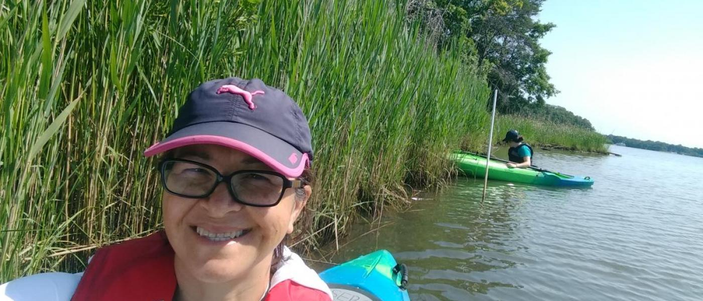 Sampling marsh habitat via kayak