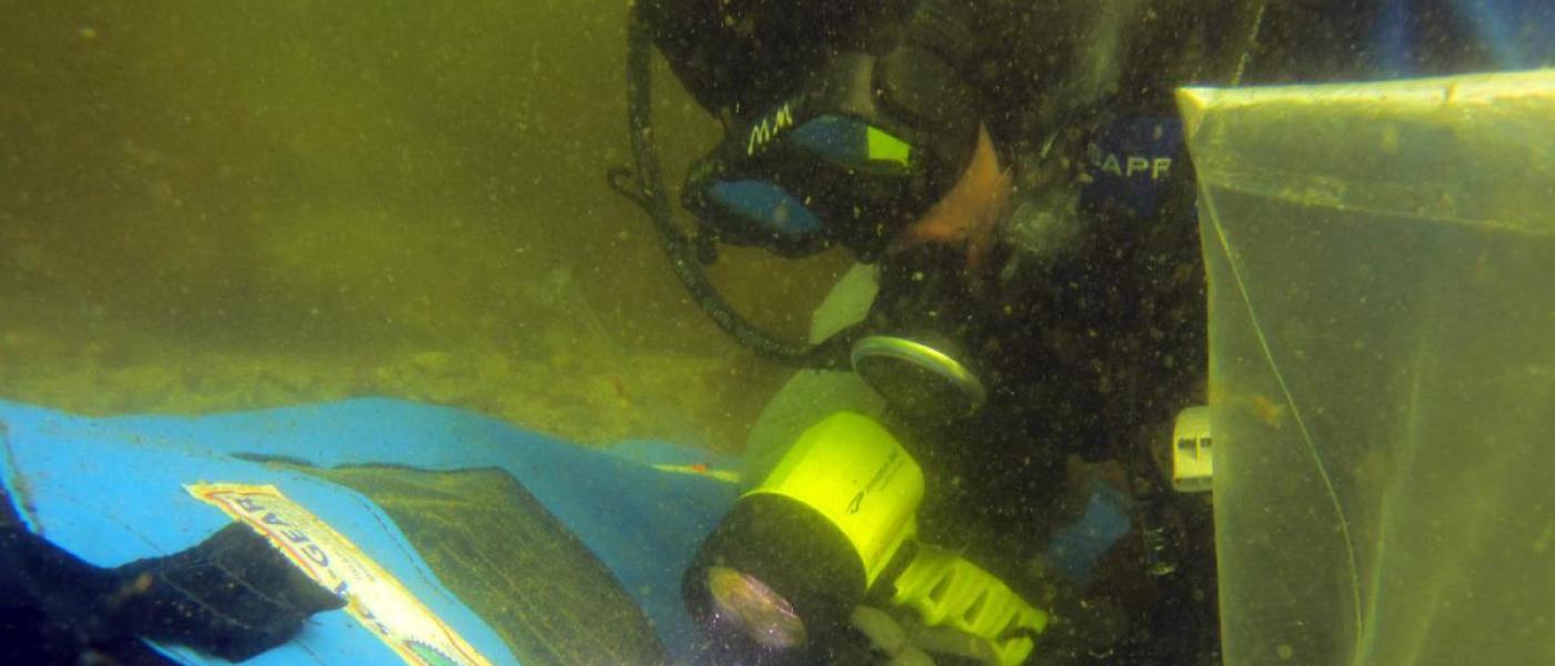 Diver Michelle Marraffini with treatment enclosure dome