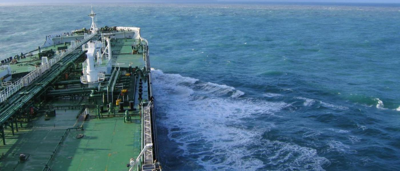 Bow of ship in ocean
